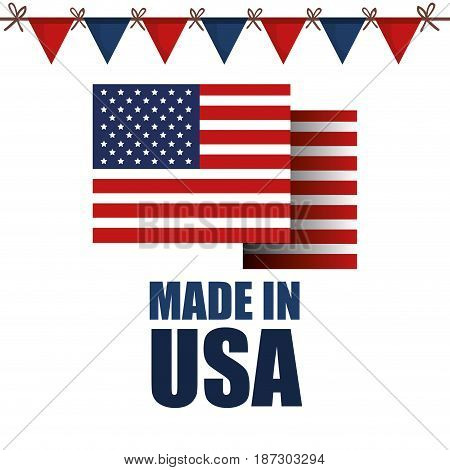 American flag with made in USA sign and festive banner over white background. Vector illustration.