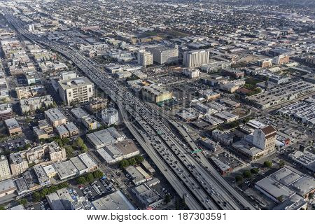 Los Angeles, California, USA - April 12, 2017:  Aerial view of the Santa Monica Freeway Interstate Route 10 near downtown LA.