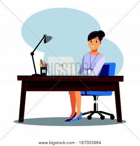 business women People Desk Vector illustration cartoon character