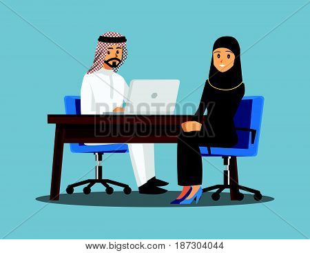 Arabian Business People teamwork Vector illustration cartoon character.