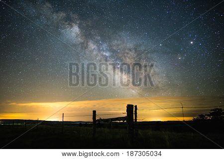 Milky Way Over Rural Landscape
