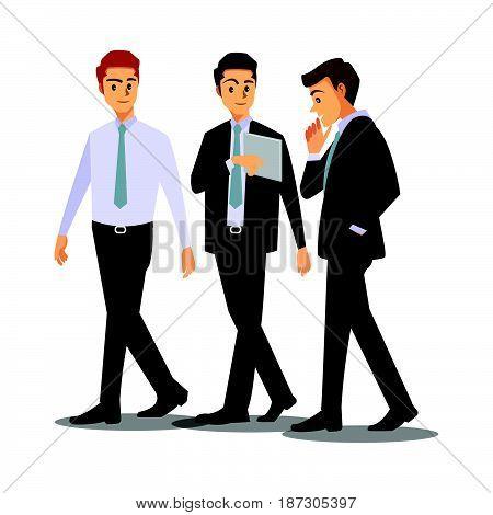 businessmen consulting working job team three friend
