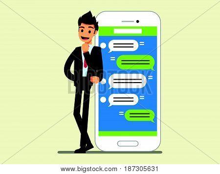 Messaging Service }businessman Stand Near  Smartphone ,. Business Concept Cartoon Illustration