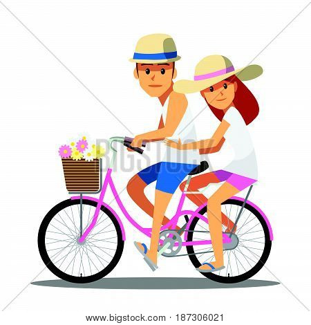 Cartoon character cute Couple on bicycle happy funny