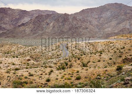 Desert Mountain Landscape With Curvy Road
