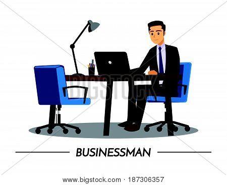 Business and People DeskVector illustration cartoon character