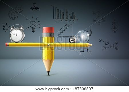 Business Creative and Idea Concept : Clock and light bulb on left hand side and right hand side of pencil balance scale. (3D Illustration)