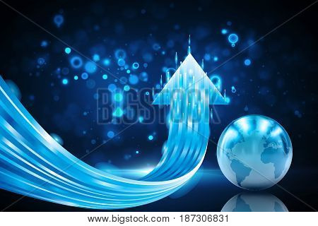 Dynamic arrow up and blue globe background. (3D Illustration)