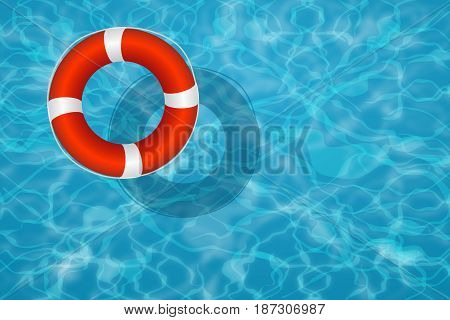 Lifebuoy floating with swimming pool and blue water background.