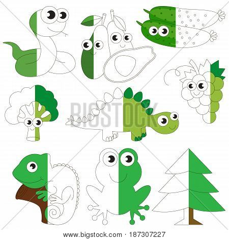 Funny Green Color Animals, Fruits and Vegetables, the big collection coloring book to educate preschool kids with easy gaming level, the kid educational game to color the colorless half by sample.