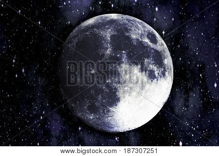 Super blue moon in the galaxy background, Elements of this image furnished by NASA