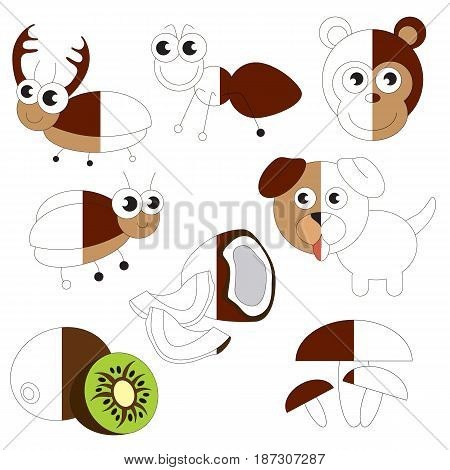 Funny Brown Color Objects, the big collection coloring book to educate preschool kids with easy gaming level, the kid educational game to color the colorless half by sample.