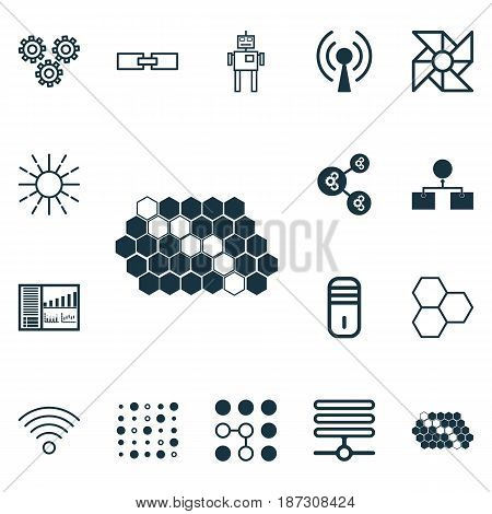 Set Of 16 Artificial Intelligence Icons. Includes Variable Architecture, Algorithm Illustration, Information Components And Other Symbols. Beautiful Design Elements.