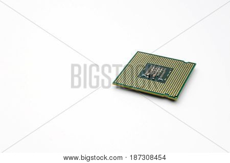 detail of CPU or central processing unit micro processor isolated on white background