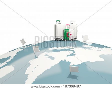 Luggage With Flag Of Algeria. Three Bags On Top Of Globe