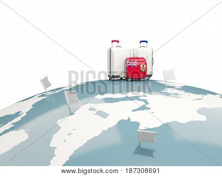 Luggage With Flag Of Bermuda. Three Bags On Top Of Globe