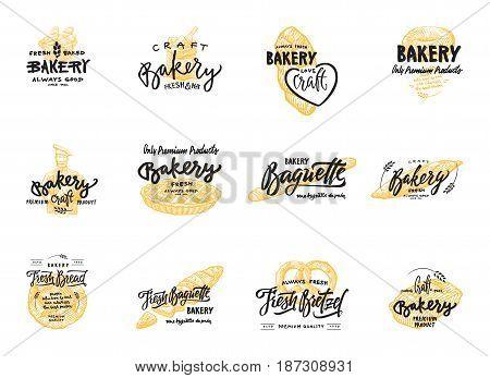 Vintage bakery lettering set. Vector color hand drawn vintage engraving illustration for label and menu bakery shop