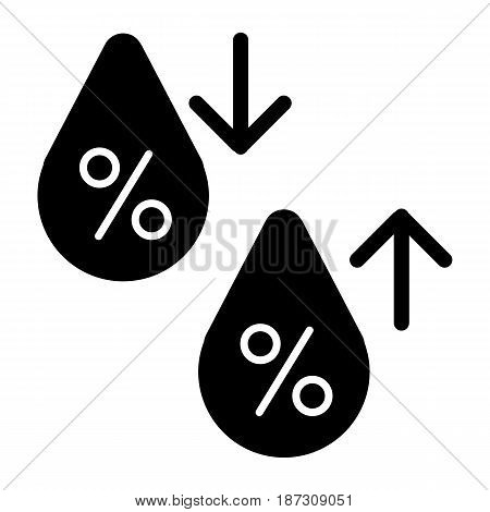 High humidity vector icon. Black and white Humidity increases and decreases illustration. Solid linear icon. eps 10