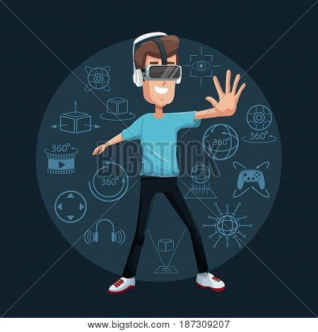 young man virtual reality wearing goggle game entertainment vector illustration