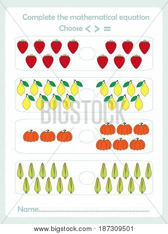 Counting educational games kids, kids activity sheet. How many task objects. Learning math, numbers, deduction themes, stock vector illustration