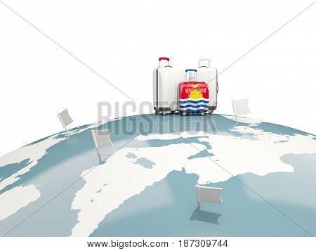 Luggage With Flag Of Kiribati. Three Bags On Top Of Globe