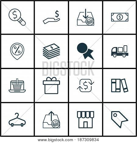 Set Of 16 Commerce Icons. Includes Delivery, Recurring Payements, Outgoing Earnings And Other Symbols. Beautiful Design Elements.