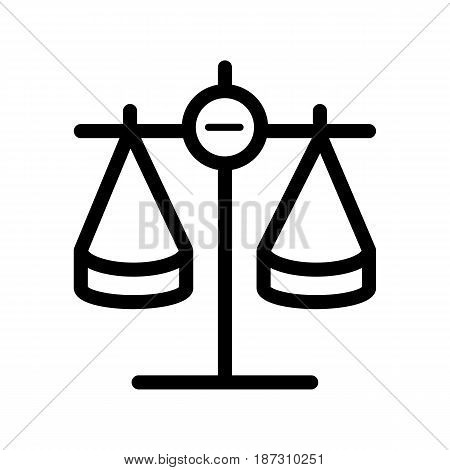 Scales vector icon. Black and white Scales of justice illustration. Outline linear icon. eps 10