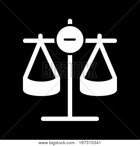 Scales vector icon. Black and white Scales of justice illustration. Solid linear icon. eps 10