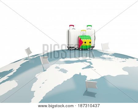 Luggage With Flag Of Sao Tome And Principe. Three Bags On Top Of Globe