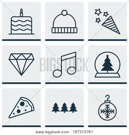 Set Of 9 Celebration Icons. Includes Tree Toy, Crotchets, Firecracker And Other Symbols. Beautiful Design Elements.