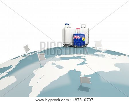 Luggage with flag of turks and caicos islands. Three bags on top of globe. 3D illustration poster
