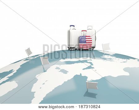 Luggage With Flag Of United States Of America. Three Bags On Top Of Globe