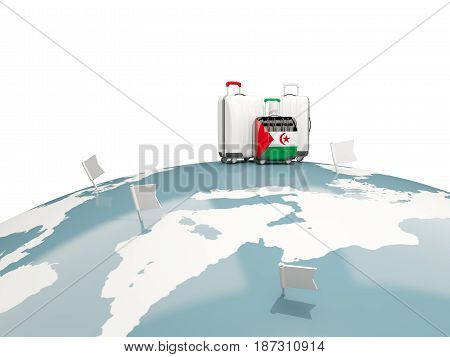 Luggage With Flag Of Western Sahara. Three Bags On Top Of Globe