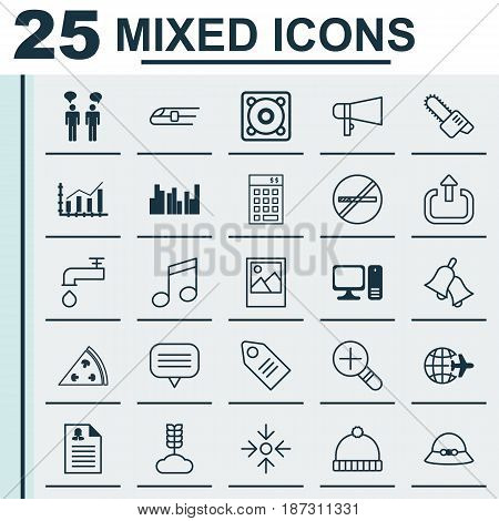 Set Of 25 Universal Editable Icons. Can Be Used For Web, Mobile And App Design. Includes Elements Such As Increase Loup, Spigot, Ticket And More.