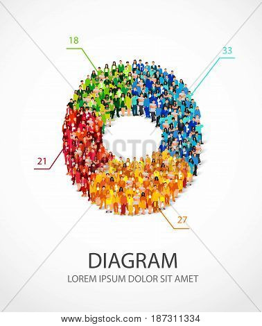 Large group of people are standing in a pie chart. Vector illustration on white background. Concept of analytics and statistics. The human graph.