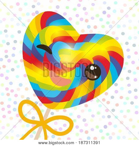 Kawaii with pink cheeks winking eyes, Valentine's Day Heart shaped candy lollipop with bow, bright rainbow stripes, colorful spiral candy cane. white abstract retro polka dot background. Vector illustration