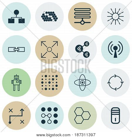 Set Of 16 Artificial Intelligence Icons. Includes Mainframe, Solution, Radio Waves And Other Symbols. Beautiful Design Elements.