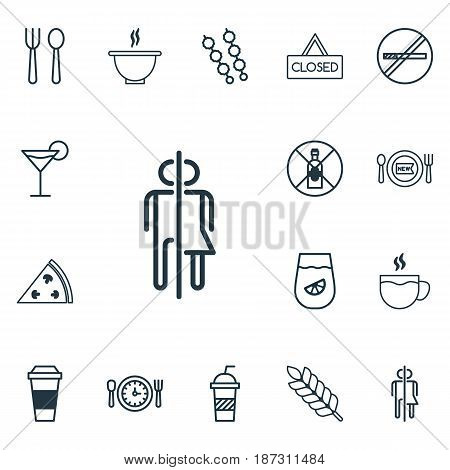 Set Of 16 Meal Icons. Includes Fresh Dining, Eating House, And Other Symbols. Beautiful Design Elements.