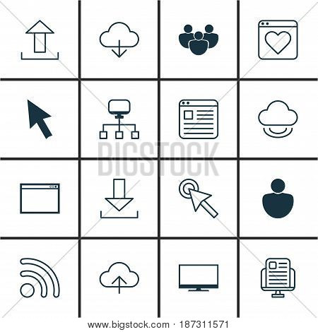 Set Of 16 World Wide Web Icons. Includes Mouse, Program, Virtual Storage And Other Symbols. Beautiful Design Elements.