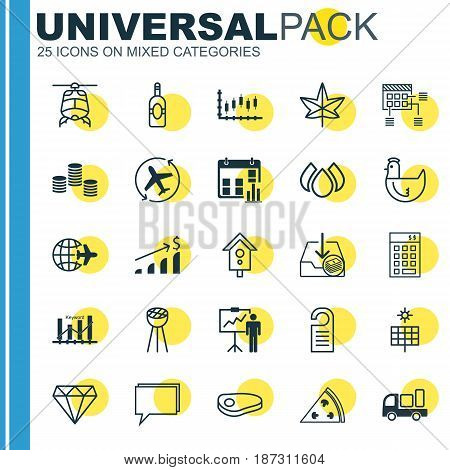 Set Of 25 Universal Editable Icons. Can Be Used For Web, Mobile And App Design. Includes Elements Such As Successful Investment, Withdraw Money, Aqua And More.