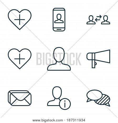 Set Of 9 Social Icons. Includes Privacy Information, Bullhorn, Add To Favorites And Other Symbols. Beautiful Design Elements.