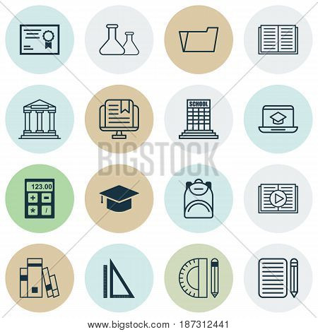 Set Of 16 School Icons. Includes Measurement, Certificate, Academy And Other Symbols. Beautiful Design Elements.