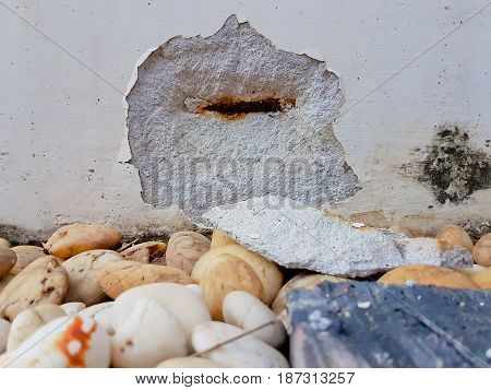 Broken Wall On The Floor With Decorate Stone
