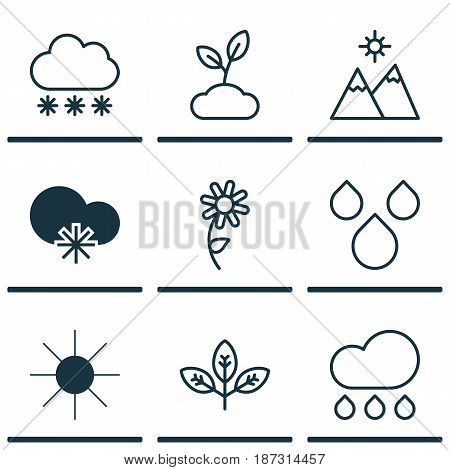 Set Of 9 World Icons. Includes Water Drops, Cold Climate, Snowstorm And Other Symbols. Beautiful Design Elements.