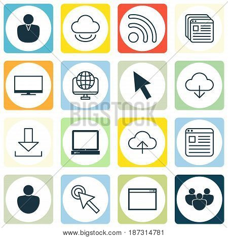 Set Of 16 World Wide Web Icons. Includes Login, Website Page, Display And Other Symbols. Beautiful Design Elements.
