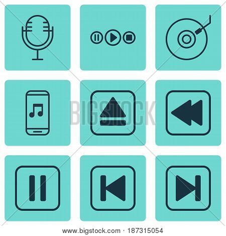 Set Of 9 Multimedia Icons. Includes Skip Song, Gramophone, Rewind Back And Other Symbols. Beautiful Design Elements.