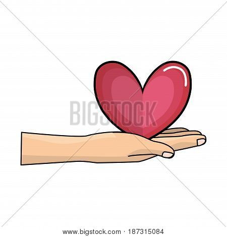cute hand with nice heart over, vector illustration
