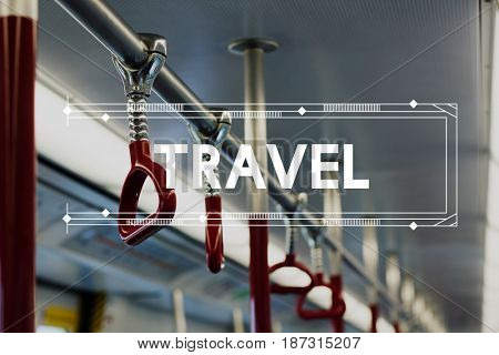 Travel Bus Train Transportation Word Graphic