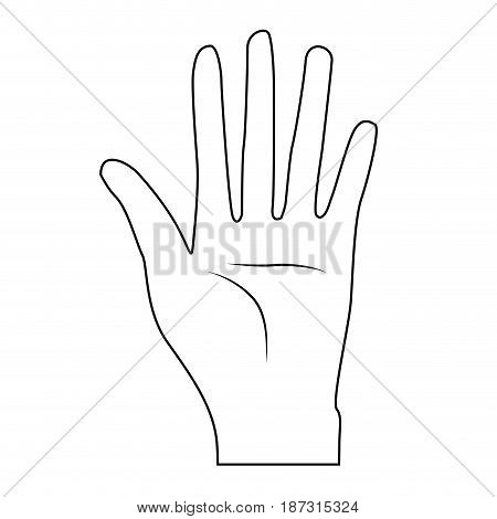 line nice hand with all fingers and palm, vector illustration