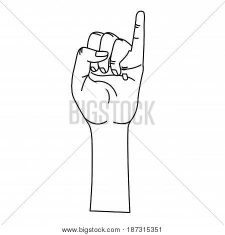 line cute hand with pinky up symbol, vector illustration